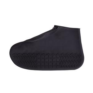 【Incare】防水拉鍊防滑矽膠雨鞋套(S-XL/三色可選)黑色L