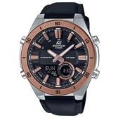 【CASIO】 EDIFICE 十年電力3D立體金屬時刻雙顯錶-黑x玫瑰金(ERA-110GL-1A)