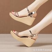 金色高跟坡跟涼鞋女2021夏季新款松糕厚底防水臺亮鉆魚嘴大碼涼鞋 美眉新品
