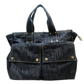 CHANEL 香奈兒 深藍丹寧布手提肩背大購物包 Double Pocket Bag【二手名牌BRAND OFF】