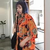 復古港風chic夏襯衣寬鬆垂感外套防曬設計感小眾短袖花襯衫女港味