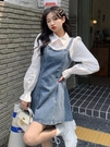 牛仔洋裝 牛仔連身裙假兩件吊帶背帶裙女裝2021新款春夏季設計感裙子ins潮 寶貝 寶貝計畫 618狂歡