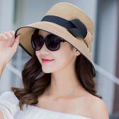 帽子女夏遮陽帽防曬可折疊海邊度假旅游大檐草帽英倫沙灘帽太陽帽『櫻花小屋』