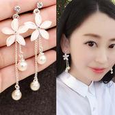 長款凈白水晶花珍珠耳夾 無耳洞耳環女夾式假耳釘耳飾 薔薇時尚