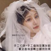 新娘頭紗釘珠多層韓式蓬蓬旅拍照頭紗