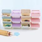 迷你桌上可疊加翻蓋式收納盒(顏色隨機)1入【小三美日】