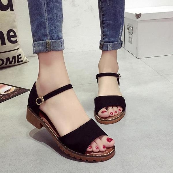 魚口鞋 夏季羅馬粗跟平底涼鞋女防滑學生露趾中跟魚口正韓百搭時尚潮-Ballet朵朵
