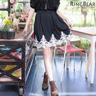 短裙--高雅氣息夢幻宣言腰間活摺下擺拼接蕾絲後拉鍊短裙(黑.灰XL-5L)-Q70眼圈熊中大尺碼