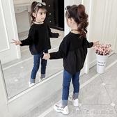 女童長袖T恤新款韓版兒童秋季洋氣拼接上衣女孩寬鬆套頭衫 晴天時尚館