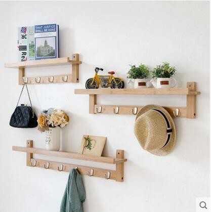 唯妮美牆上置物架簡約客廳創意掛鉤儲物架實木臥室壁掛隔板機上盒(三件套