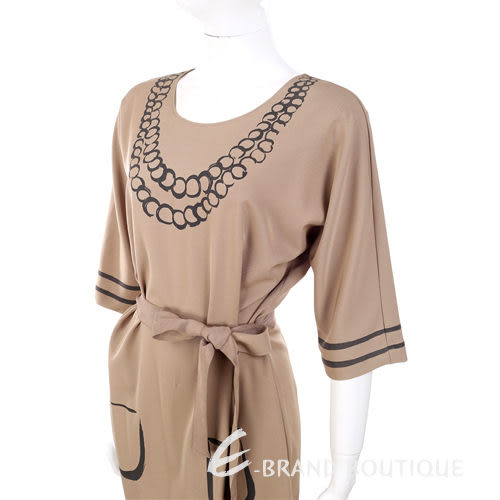 MOSCHINO 駝色塗鴉設計七分袖洋裝 1240420-02