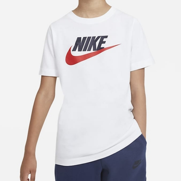 NIKE Sportswear 童裝 大童 短袖 純棉 休閒 訓練 慢跑 白【運動世界】AR5252-107