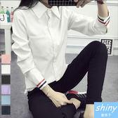 【V1232】shiny藍格子-韓范百搭.學院修身袖口條紋配色長袖襯衫