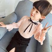 【618好康又一發】女童春裝襯衫春秋長袖立領上衣