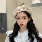 貝雷帽女夏季薄款韓版帽子女百搭日系畫家帽子鏤空透氣潮英倫複古