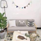 北歐日式小戶型拆洗三人布藝沙發單人雙人實木沙發椅臥室現代簡約YDL
