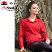 EasyMain 衣力美 S1568-29橘紅 女速乾排汗長Polo衫