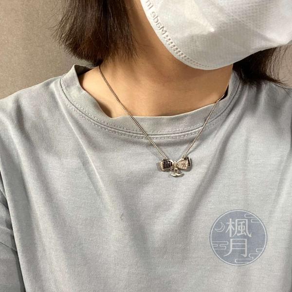 BRAND楓月 CHANEL 香奈兒 17年 蝴蝶結 黑白 鑲鑽 黑色水晶 雙C吊墜 銀鍊 項鍊 飾品 配件