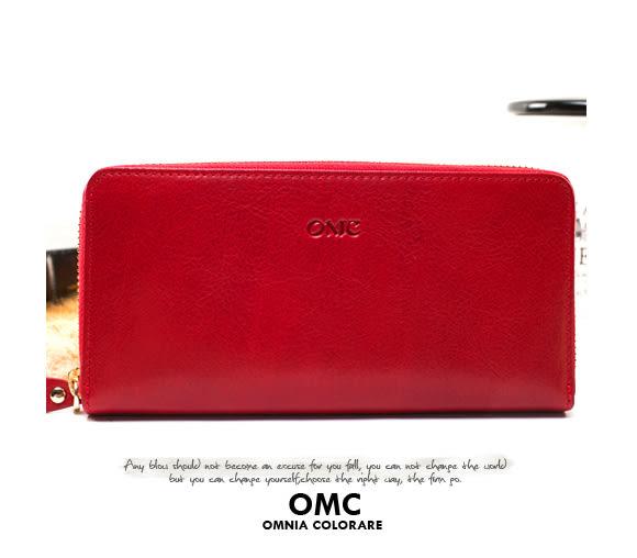 OMC - 原皮魅力真皮系列單拉鍊多層長夾 - 經典紅