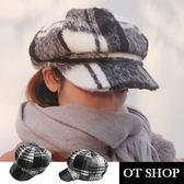 OT SHOP帽子‧保暖黑白格子絨毛‧八角帽貝雷帽畫家帽‧韓系文青街頭時尚穿搭配件‧現貨‧C1904