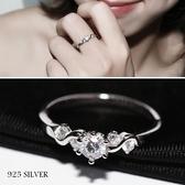925純銀戒指女鋯石仿真鉆戒簡約求婚18K六爪【倪醬小舖】