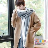 韓版圍巾男冬季簡約百搭針織男士圍巾毛線圍脖加厚學生長款年輕人