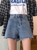 牛仔短褲高腰牛仔短褲女夏裝韓版學生撕邊寬鬆百搭復古闊腿直筒熱褲潮 新年特惠