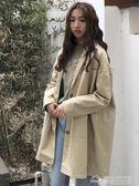 韓版寬鬆百搭風衣中長款長袖休閒外套秋季新款純色上衣女裝潮  夢想生活家
