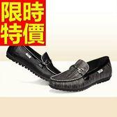 牛皮豆豆鞋-潮流學院風真皮男休閒鞋2色59b41【巴黎精品】