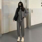 新款灰色寬鬆休閒長袖T恤上衣 蘿蔔褲松緊抽繩運動套裝秋裝女 快速出貨