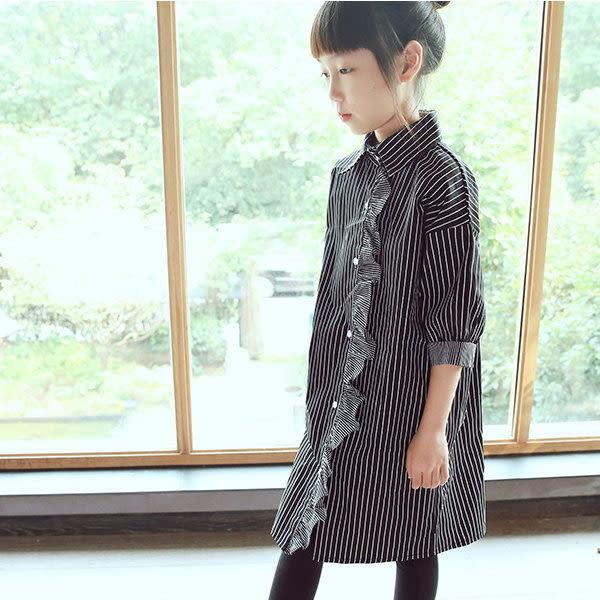 *╮小衣衫S13╭*木耳花邊黑白條紋半袖長版襯衫裙 1051005