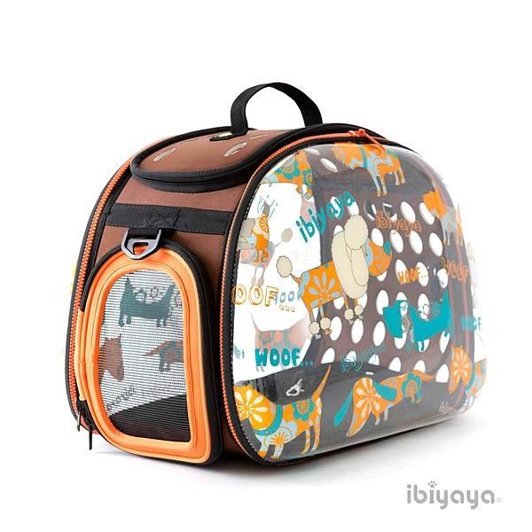 [寵樂子] 《IBIYAYA 依比呀呀》透明膠囊寵物提包FC1220-WOOF(棕橘) 外出包/外出籠