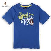 Hush Puppies 男裝雙色貼布刺繡狗T恤