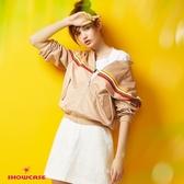 【SHOWCASE】百搭花紋鏤空大口袋牛仔吊帶裙(白)