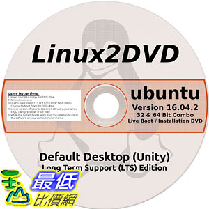 [106美國直購] 2017美國暢銷軟體 Ubuntu Linux 16.04 LTS 32 64 Bit Latest Long Term Support Release