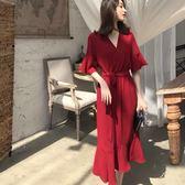 大尺碼 休閒裙 洋裝 2019夏季法國復古裙雪紡v領過膝長裙胖mm收腰系帶顯瘦連衣裙200斤