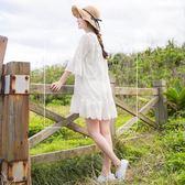 《DA4359》純色刺繡蕾絲拼接荷葉裙襬開衩領七分袖上衣 OrangeBear