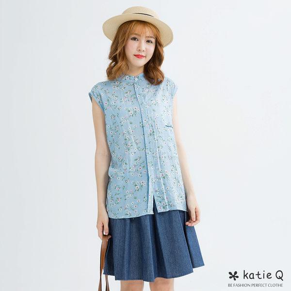 印花短領無袖衫(藍色)-F-KatieQ