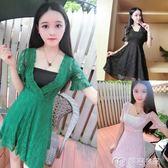 夏季新款韓版夜店女裝性感低胸V領收腰顯瘦短袖蕾絲A字連身裙     麥吉良品