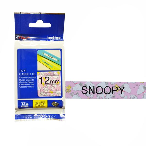 Brother TZe-UP31 Snoopy護貝標籤帶 ( 12mm 粉紅底黑字 )
