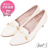 Ann'S打造知性品味-頂級小羊皮單結低跟包鞋-杏