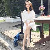 洋裝沙灘裙海邊度假泰國巴厘島小香風白色仙女裙蕾絲連身裙女【全館滿千折百】