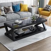 特價現代簡易黑色鋼化玻璃茶幾桌子電視櫃組合簡約客廳歐式小戶型 現貨快出YYJ