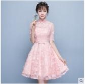 小鄧子伴娘服2018新款優雅甜美公主粉色小禮服連衣裙宴會晚禮服女短款冬