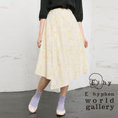 ❖ Spring ❖ 不規則下襬剪裁花朵圖案打印中長裙 - E hyphen world gallery