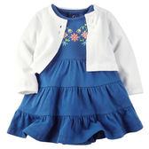美國Carter's卡特童裝 女寶寶 短袖連衣裙洋裝&薄外套 白【CA121G464】