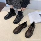 牛津鞋 小皮鞋女秋冬百搭2020新款英倫風黑色平底鞋復古皮帶扣學院風jk鞋 618購物節