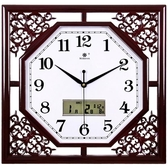 鐘客廳方形復古創意新中式家用電子石英鐘錶日歷時鐘掛錶YYP 歐韓流行館