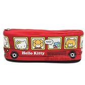 〔小禮堂〕Hello Kitty 帆布拉鍊筆袋《紅.公車》收納袋.化妝包.鉛筆盒 4713791-96996