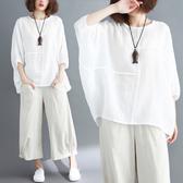 大碼女裝夏裝胖mm拼接純色蝙蝠袖寬鬆遮肚子顯瘦棉麻上衣女t恤衫
